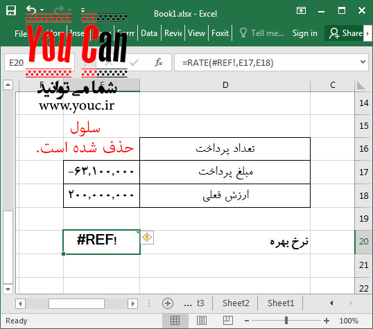 تصویر 78 - پیام خطای !REF# در اکسل